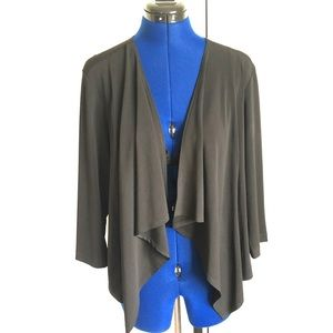 Black Draped Front Open Cardigan